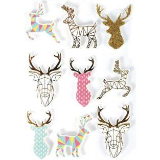 3D stickers x 9 - Christmas reindeer 5 cm