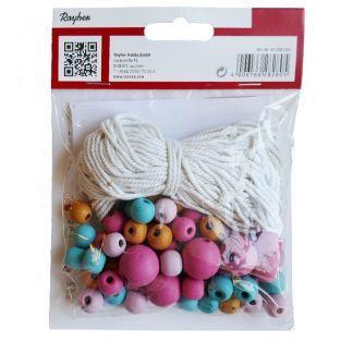 Bolas de madera de color & hilo para Macrame