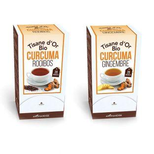 2 Organic herbal teas with Curcuma Ginger & Rooibos - 20 Bags
