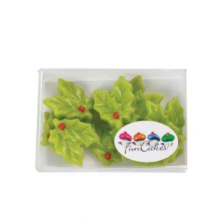 12 Marzipan decorations - Christmas Holly