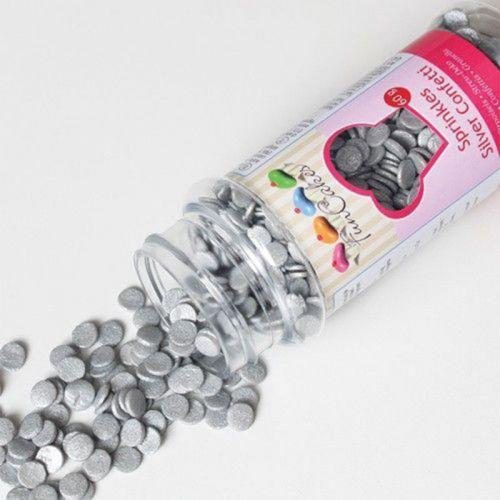 Decoraciones de azúcar confeti 60 g - Plateado