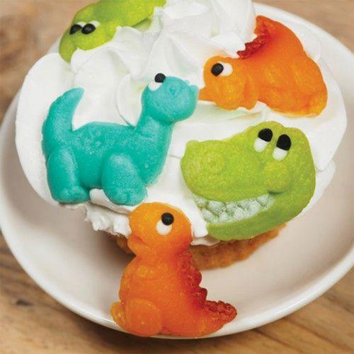5 décorations en pâte d'amande - Dinosaures