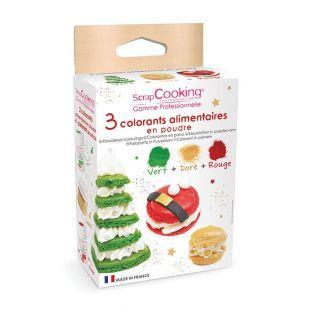 3 colorants en poudre vert, rouge et doré - Edition Noël