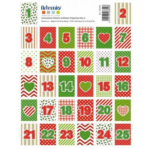 64 Timbres stickers Calendrier de l'Avent - Lutins