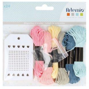 24 etiquetas de bordado blancas con hilos - Adorable