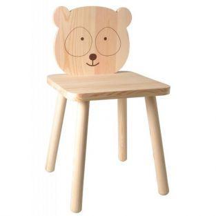 Silla infantil de madera para pintar 29 x 53 cm - Pequeño Panda