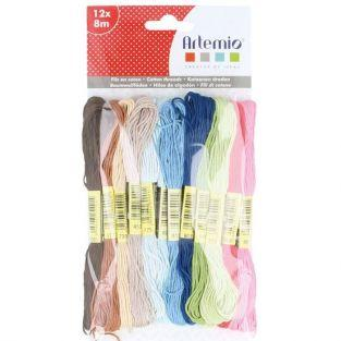 12 multicolored cotton thread x 8 m - Home sweet home
