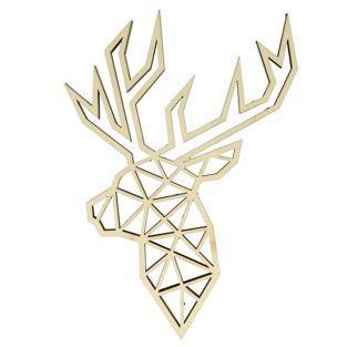 Silueta de madera Origami - cabeza de ciervo de perfil