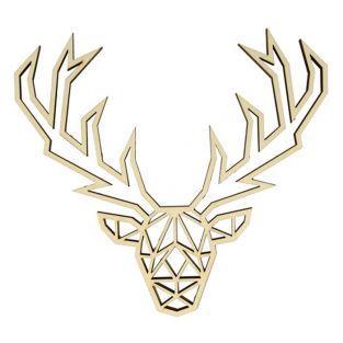 Silueta de madera Origami - cabeza de ciervo
