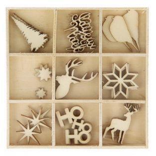 Coffret de 27 mini décorations en bois de Noël