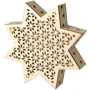 Lámpara de madera LED - Estrella de Navidad