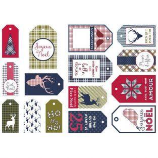 15 etiquetas de Navidad - Escocés