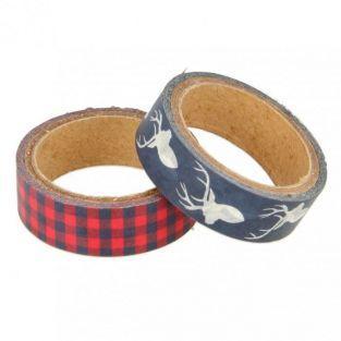 2 masking tapes Noël écossais rouge et bleu marine