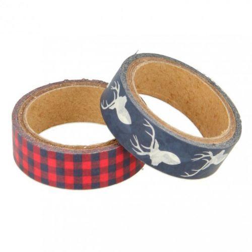 2 masking tapes Scottish Christmas - red & navy blue