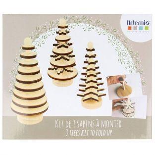 Set decoraciones de Navidad - abetos de madera