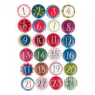 24 chiffres en bois pour calendrier de l'Avent - Noël écossais