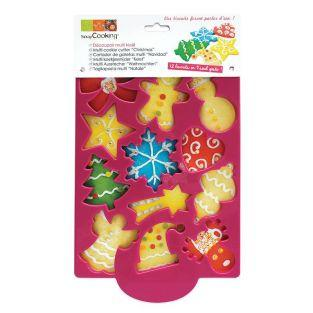 12 Christmas cookies cutter plate