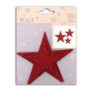 12 3D stars with glitter - Red