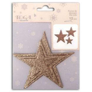 12 3D stars with glitter - Pink Champagne