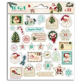 32 pegatinas epoxi para scrapbooking - Papá Noel