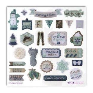 28 stickers epoxy pour scrapbooking - Noël givré