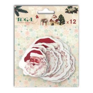12 formes découpées pour scrapbooking Père Noël vintage - Dear Santa