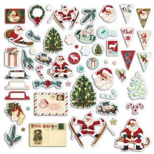54 formas cortadas para scrapbooking - papá Noel vintage