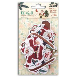 54 formes découpées pour scrapbooking Père Noël vintage - Dear Santa