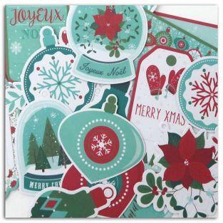 24 étiquettes perforées Joyeux Noël