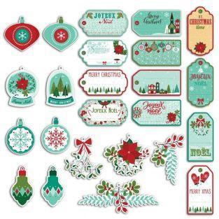24 etiquetas perforadas Feliz Navidad