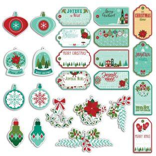 24 perforated labels Merry Christmas