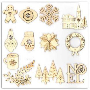 12 wooden shapes for scrapbooking - Merry Christmas
