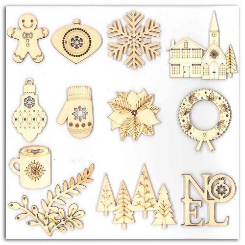 12 formes en bois pour scrapbooking - Joyeux Noël