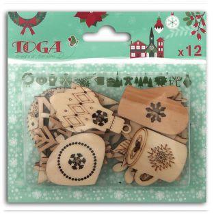 12 formas de madera para scrapbooking - Feliz Navidad