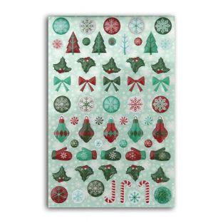 60 stickers epoxy pour scrapbooking - Joyeux Noël