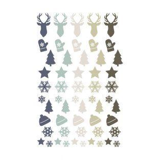 55 stickers epoxy pour scrapbooking Noël givré - Cerf, sapin et Flocons
