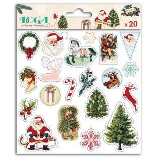 20 pegatinas hinchadas - Papá Noel