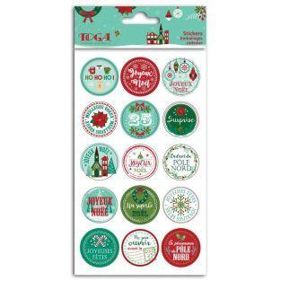 15 stickers ronds pour emballages cadeaux - Joyeux Noël