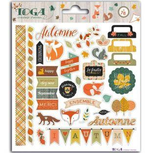 76 stickers pour scrapbooking - Délicate Automne