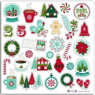 Puffy 3D stickers for scrapbooking - Merry Christmas