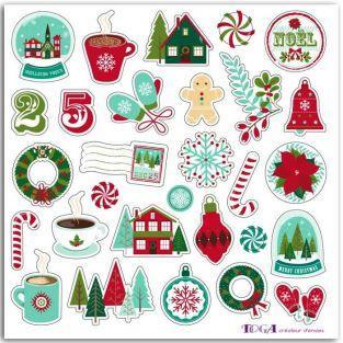 Stickers puffy en relief pour scrapbooking - Joyeux Noël