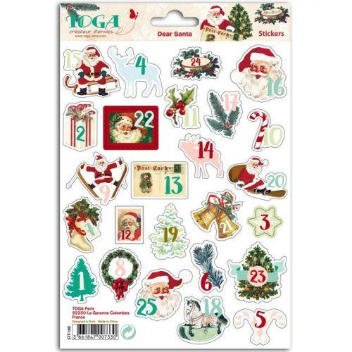 Stickers chiffres Calendrier de l'Avent - Dear Santa