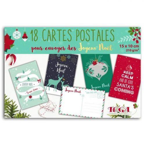 Bloc 18 cartes postales de Noël 10 x 15 cm