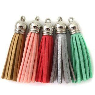 5 suede Tassels 3.6 cm - shades of gold-silver