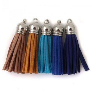 5 pompons en suédine 3,6 cm - Camaïeu bleu