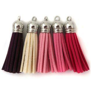 5 suede Tassels 3.6 cm - shades of pink