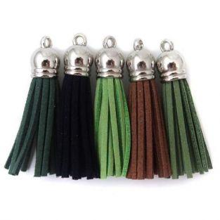 5 suede Tassels 3.6 cm - shades of green