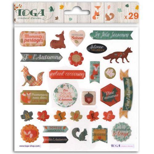 29 stickers epoxy pour scrapbooking - Délicate Automne