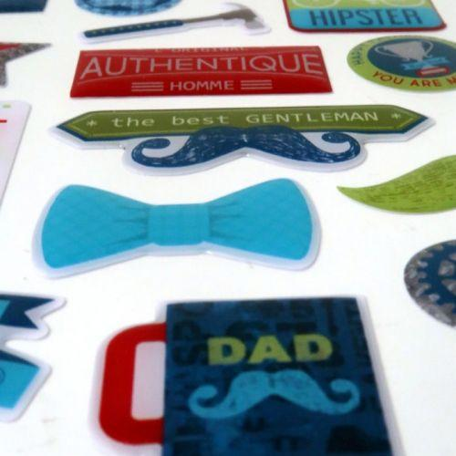 30 stickers epoxy pour scrapbooking - 100% Masculin