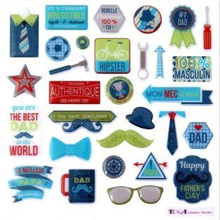 30 epoxy stickers for scrapbooking - 100% Masculine